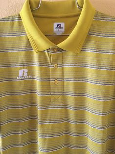 a54e76cf Large Russell Athletic Gold Yellow Gray White Mix Polo Shirt Free Shipping  #RussellAthletic #PoloRugby