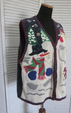 Vintage Ugly Christmas Sweater Vest . Novelty by MarjoriesMemories, $26.00