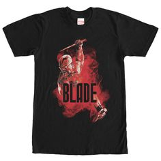 Smoke Blade - Join the vampire-hunting ranks of the Marvel Blade Smoke Black T-Shirt! Vampire Hunter Eric Brooks, also known as Blade, is in a cloud of red smoke while holding up wooden stakes next to Blade on the front of this awesome black Blade shirt. T Shirt And Jeans, Sweater Shirt, Tee Shirts, Plaid Shirts, Shirt Hoodies, Boys Hoodies, Wrap Sweater, Work Shirts, Flannel Shirt