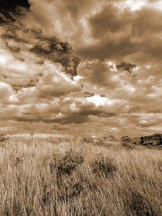 """Prairie and Sky"" digital photograph. Shown at ""Dakota West"" exhibit, Bowman Regional Public Library, 2014."
