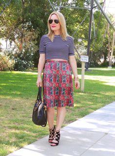 Crop Top #Topshop, Skirt by Marc Jacobs, #DolceVita Heels, Tory Burch Bag