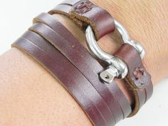 Stainless Horse Shoe Multi Strands Brown Leather Cuff Bracelet | by beadsiam on etsy