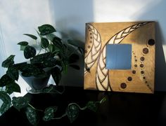 Wooden Mirror - Galactic Dream, Wall Decor, Woodburned Design, Pyrography Design, Made to Order