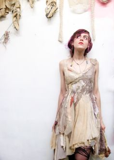 the Alva dress ~ of bracken + brier.  made entirely from reclaimed antique remnants. available for adoption in the shop: http://gibbousfashions.com/shop.php