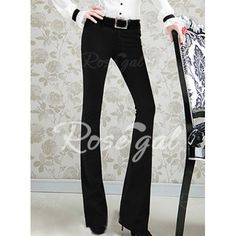 Vintage Low Waist Solid Color Flare Pants For Women