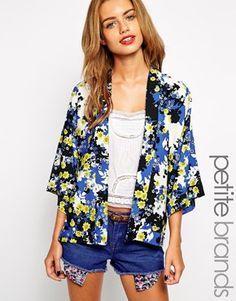 Image 1 ofNew Look Petite Buttercup Printed Kimono