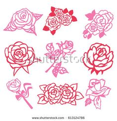 A vector illustration of 9 assorted roses vintage roses filigree paper cut set.