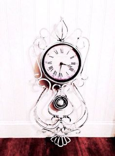 French Pendulum Clock French Shabby Chic Style Beach Cottage French Country Style Hand Painted Metal Distressed Clock Antique Chalk White