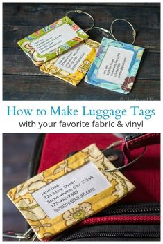 Fabric Patterns Learn how to make durable DIY luggage tags using some of your favorite fabric patterns and a bit of iron on vinyl. - Learn how to make durable DIY luggage tags using some of your favorite fabric patterns and a bit of iron-on vinyl. Fabric Gifts, Fabric Tags, Fabric Scraps, Fabric Purses, Scrap Fabric, Vinyl Fabric, Fabric Shop, Upcycled Crafts, Sewing Crafts