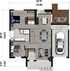 Cette maison de plain-pied présente plusieurs particularités intéressantes telle qu'une façade d'aluminium, de briques, de pierres et de bois, une immense arche pour protéger du vent ainsi qu'un balcon couvert à l'arrière. La demeure occupe 42 pieds de largeur sur 36 pieds de profondeur, elle offre une surface habitable de 1 059 pieds carrés et possède un garage simple de 287 pieds carrés. Cette demeure à aire ouverte dont les plafonds font 9 pieds de hauteur comprend un salon, une cuisi...