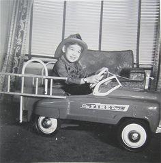 Vintage photo-Boy-pedal car-miniature garage-8x10 in.