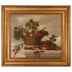 Old Master Still Life Painting of a Basket of Fruit | From a unique collection of antique and modern paintings at https://www.1stdibs.com/furniture/folk-art/paintings/