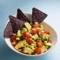 Avocado-Corn Salsa Recipe  Prep Time: 10 mins  Total Time: 10 mins  Ingredients  3/4 cup(s) corn, frozen, thawed  1/2 cup(s) tomato(es), grape, quartered  1 medium avocado, diced  1 tablespoon cilantro, fresh, chopped  2 teaspoon lime juice  1/4 teaspoon salt, Kosher  Preparation  Toss avocado, corn, tomatoes, cilantro, lime juice and salt in a medium bowl.