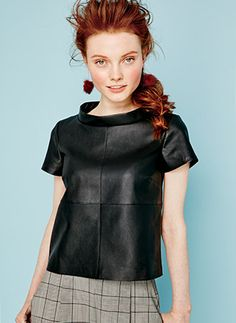 Boxy Faux-Leather Top - The key piece for instant summer style: It adds a little edge to everything from glen plaid trousers to a dark denim skirt. Take it in a playful direction with pom-pom earrings—two pops of fun! | mark. Two Sides To Every Top #fallfashion #falltrends