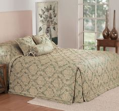 Winslet Sage - Polyester front and reverse, Polyester fill, Jacquard, Quilted - Queen Beds, Beautiful Bedrooms, Bed Spreads, Sage, Comforters, Traditional, Blanket, Luxury, Quilted Bedspreads