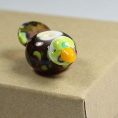 Spotted Bird Lampwork Glass Bead