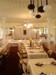 Banquet Room decorated for a Summer Lemonade Wedding Reception at Historic Chapel.  www.oldenorthchapel.com