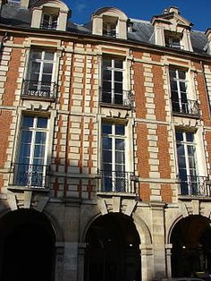 Hotel de Bassompierres, deemed historical landmark in Combined with Hotel de Richelieu in Is a mansion on the Place des Vosges near the Bastille in Paris. Place Des Vosges Paris, Arrondissement, Historical Landmarks, Bastille, Facade, Multi Story Building, Mansions, Places, Location