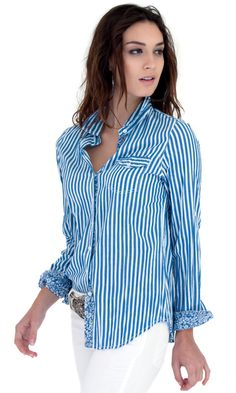 100% cotton YD stripe button down shirt with contrast print trim and roll-up sleeve detail.