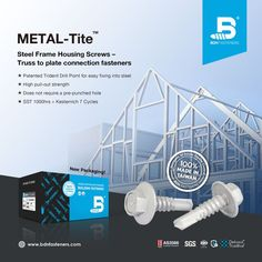 BDN 𝐌𝐄𝐓𝐀𝐋-𝐓𝐢𝐭𝐞™ fasteners follow Australian AS3566 standards, and are designed for fixing steel trusses to steel ranging from 0.75mm to 6.0mm thick. - SDHC1220C3 12-14 x 20mm BN3 Series: SST 1000hrs + Kesternich 7 Cycles ★ Patented Trident Drill Point for easy fixing into steel ★ High pull-out strength ★ Does not require a pre-punched hole - 100% Made in Taiwa Steel Trusses, Roof Trusses, Roofing Screws, Roof Cladding, Thermal Expansion, Steel Sheet, Skylight, Fasteners