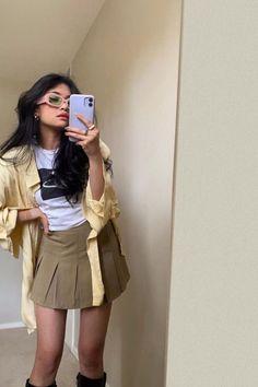 #preppyskirt #meminebrand #ootd #summeroutfit #schoolskirt #tennisskirt Preppy Skirt, Leather Skirt, Summer Outfits, Skirts, Ootd, Shopping, Fashion, Moda, Skirt
