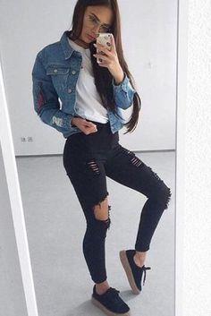 Distressed jeans x denim jacket