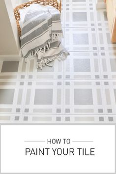 Refresh Your Outdated Tile With Paint! Painting Bathroom Tiles, Painting Tile Floors, Bathroom Floor Tiles, Painted Floors, Painted Floor Tiles, Painting Linoleum, Vanity Bathroom, Downstairs Bathroom, Bathroom Cabinets