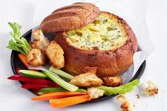 Cob Dip, Cob Loaf Dip, Loaf Recipes, Cooking Recipes, Savoury Recipes, Healthy Recipes, Fruit Recipes, Fish Recipes, Lunch Recipes