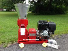 Small Gas Pellet Mill with a 13 hp engine D150G www.GardenHeat.com