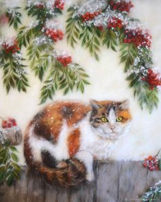 """Woolen Painting """"Rowan cat"""" – shop online on Livemaster with shipping"""