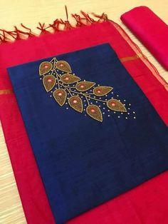Diy Embroidery Designs, Kurti Embroidery Design, Embroidery Works, Embroidery Saree, Embroidery Suits, Beaded Embroidery, Churidhar Designs, Chudi Neck Designs, Salwar Neck Designs
