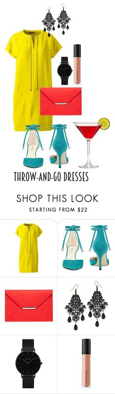 """""""#throw-and-go-dress"""" by ranah23 ❤ liked on Polyvore featuring Lands' End, Nine West, Dorothy Perkins, CLUSE and Bare Escentuals"""