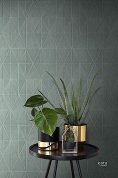 behang origami motief petrolblauw | ESTAhome.nl