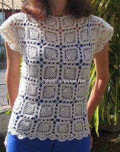 Celeida Ribeiro: Blusa de crochê