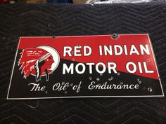 Red Indian Rack Sign 1938 (Rare 2 Sided with Aviation on the Reverse)