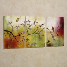 **Perfect match to pink on back wall & rust accents & vanity area rug.** Look what I found on Pink Blossoms & Butterflies Triptych Wall Art by Stupell Industries 3 Piece Canvas Art, 3 Piece Art, 3 Piece Painting, Painting Edges, Painting Prints, Paintings, Large Canvas, Triptych Wall Art, Butterfly Wall Art