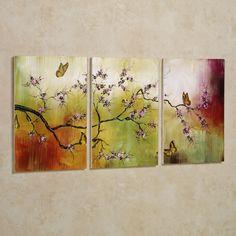 Pink Blossoms and Butterflies Wall Art Set ~ $86.99 at touchofclass.com