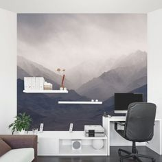 Misty Mountains Wall Mural + IKEA Lack shelves make for an interesting office view