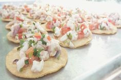 An army of light, crisp and refreshing Tostaditas de Ceviche ready to conquer palates at a Los Angeles wedding.  More: http://www.sohotaco.com/2015/04/22/catering-exceptional-ceviche-appetizers-for-a-los-angeles-wedding #tacocatering #lafoodies #eaglerock