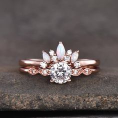 Moissanite And Opal Art Deco Engagement Ring Set Opal Diamond Engagement Ring, Diamond Wedding Sets, Deco Engagement Ring, Engagement Ring Settings, Opal Wedding Ring Set, Moissanite Bridal Sets, Moissanite Wedding Rings, Bridal Rings, Wedding Stuff
