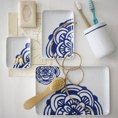 Blue and White Bathroom Decor Elegant Blue White Bath Accessories Contemporary Bathroom Accessories by West Elm White Bath, Decor, Blue And White, Bathroom Decor, Bath Accessories, White Bathroom Decor, Blown Glass Pendant, Blue Bath, White Bathroom