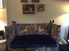 My newly upholstered Knole sofa in wonderful Zoffany fabric and rich blue velvet...