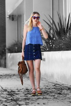 Dakota Fanning Copped Alexa Chung's Style #refinery29  http://www.refinery29.com/2015/08/92555/dakota-fanning-denim-skirt-outfit#slide-1  Dakota Fanning ventured out into Beverly Hills giving style props to Alexa Chung by wearing the a piece from the It Brit's AG collab. ...