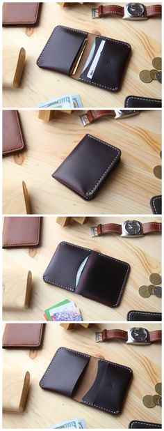 Personalized Mens Leather Wallet, Mens Bifold Wallet with 4 Pockets, Horween Chromexcel Leather #manufacturabrand#accessories #wallet #leather#handmade#leathergoods #everydaycary#vegtanleather#handcraft #handstitched#leathercraft #vegtan#bifoldwallet #bif