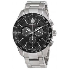 Movado Gents Series 800 Chronograph- Stainless Steel W/ Black Dial Style# 2600094