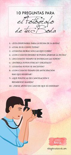 10 preguntas para el fotógrafo de tu Boda | Guía para elegir el #fotógrafo ideal para tu #Boda | El Blog de una Novia