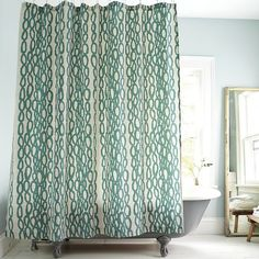 teal graphic print shower curtain. $39