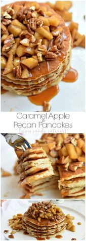 pancake toppings These delicious Caramel Apple Pecan Pancakes are light and fluffy pancakes topped with a creamy caramel sauce, baked apples, and crunchy pecans. It is an amazing fall breakfast recipe. Pecan Desserts, Pecan Recipes, Apple Recipes, Dessert Recipes, Pecan Pie Cookies, Pecan Pancakes, Waffles, Caramel Pecan, Caramel Apples