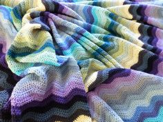 @ Mrs Thomasina Tittlemouse: Sea-Ripple Blanket -made from Attic 24 pattern here: Crochet Ripple Blanket, Ripple Afghan, Afghan Blanket, Crochet Blankets, Crocheted Afghans, Love Crochet, Diy Crochet, Crochet Ideas, Attic 24