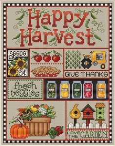 Sue Hillis Happy Harvest - Cross Stitch Pattern. Model stitched on 14 Ct. Summer Khaki Aida or 28 Ct. Summer Khaki Lugana with Sullivans Floss. DMC conversions